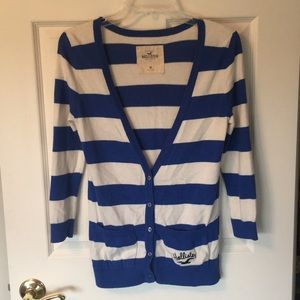 Hollister Cardigan - Blue and White Stripes